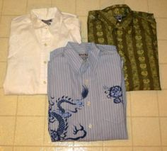3 Men's New Lucky Brand Long Sleeve Oxford Shirts Size XS X-Small NWT Dragon