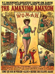 "Vintage circus poster, P.T. Barnum's ""The Amazing Amazon Woman"""