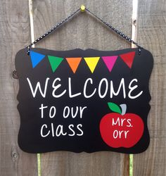 Personalized Teacher Sign Apple Welcome to our class classroom decor custom teacher name sign back to school chalkboard sign by TheCreativeSign on Etsy Classroom Welcome, Classroom Board, Classroom Signs, Preschool Classroom, Classroom Decor, Classroom Teacher, Dollar Tree Classroom, Teacher Name Signs, School Chalkboard