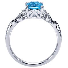 14k White Gold Refined Color Solitaire Style  Fashion Ladies' Ring With  Diamond  With Swiss Blue Topaz. | Gabriel & Co NY | LR6042W45BT