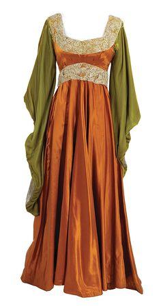 Group of (7) shades of red Medieval period dresses - by Profiles in History
