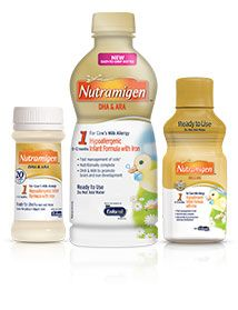 Nutramigen®: Manages colic due to protein sensitivity. A hypoallergenic formula proven to manage colic due to cow's milk protein allergy fast, often within 48 hours†. If your baby has an allergy to the cow's milk protein in infant formula, Nutramigen has hypoallergenic proteins that are easy to digest and so small the body is unlikely to recognize them as a potential allergen.