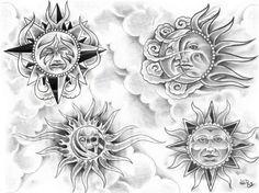 Celestial Sun Moon Tattoo Designs | sun1002 - Black and Grey Tattoo Designs. Tattoos Gallery and Tattoo ...