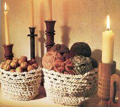 Cotton Cord Crochet Baskets Pattern