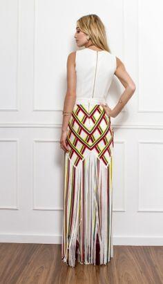 SAIA TIRAS DE TRICOT COM LISTRAS COLORIDAS - SA16559   Skazi, Moda feminina, roupa casual, vestidos, saias, mulher moderna