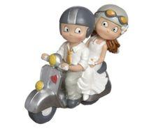 Muñecos originales para la tarta nupcial - Novios en moto