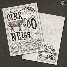 vintage farm animal baby shower invitation, bridal shower, burlap, rustic, horse, cow, pig, barnyard, printable, custom, digital