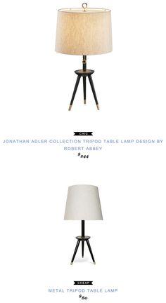 Jonathan Adler Collection Tripod Table Lamp Design by Robert Abbey $244 vs Art Van Metal Tripod Table Lamp $80 @jonathanadler @robertabbeyinc @artvan