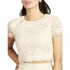 Donna Morgan Amelia Lace Cropped Top ($99) ❤ liked on Polyvore featuring tops, fawn, floral print crop top, floral crop tops, scalloped lace top, cut-out crop tops and white top