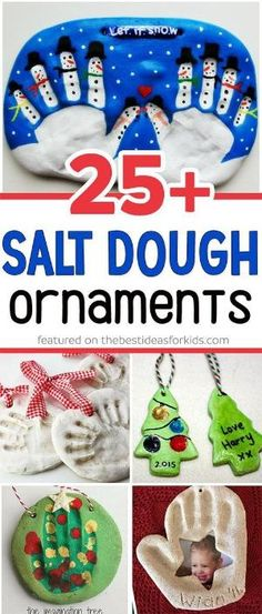 Over 25 of the best salt dough ornament ideas for kids! So many fun ideas including snowman, christmas tree, handprint, fingerprint, olaf and more! Such fun kids craft to make as Christmas gifts! #saltdough #saltdoughornaments #christmas #christmasideas #christmasforkids via @bestideaskids by mollie