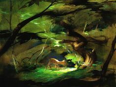 Bambi concept art. Tyrus Wong did amazing background paintings and concept work