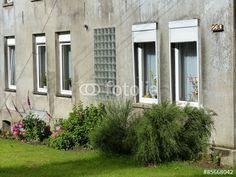 Fensterzeile eines alten Hauses mit verwaschener grauer Fassade in Oerlinghausen bei Bielefeld