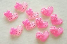 8 pcs Polka Dots Glitter Heart Cabochon (15mm20mm) IK093 on Etsy, £2.43