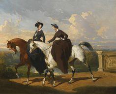 Alfred de Dreux 1810-1860 FRENCH DEUX AMAZONES AU CHEVAL