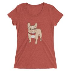 Cute Light fawn French Bulldog with a red bow tie Ladies' short sleeve t-shirt