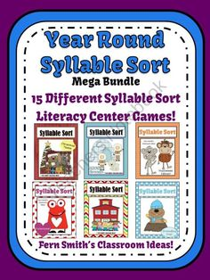 Year Round Syllable Sort Mega Bundle Center Games for Common Core $22.50 #Reading #Syllables #Teacher www.FernSmithsClassroomIdeas.com