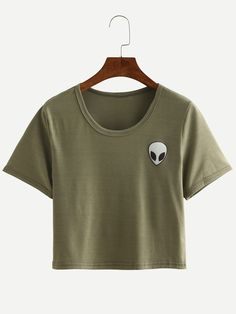 Shop Alien Print Crop T-shirt - Olive Green online. SheIn offers Alien Print Crop T-shirt - Olive Green & more to fit your fashionable needs.