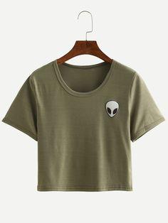 Camiseta+alien+estampado+crop+-verde+oliva++7.84