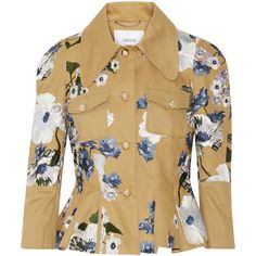Erdem Shari embroidered cotton-canvas peplum jacket ($2,470) ❤ liked on Polyvore featuring outerwear, jackets, tan, ruffle jacket, erdem, brown jacket, tan jacket and cotton canvas jacket