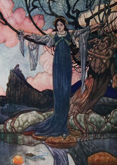 "Charles Robinson illustration/painting from ""The Big Book of Fairy Tales"" 1911, Art Nouveau style"