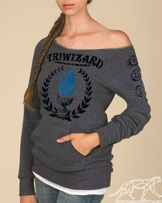TriWizard Tournament Harry Potter WOMANS MANIAC SWEATSHIRT Heather Grey - Blue Flame of the Goblet of Fire Spits Out Harry Potter's Name. $40.00, via Etsy.