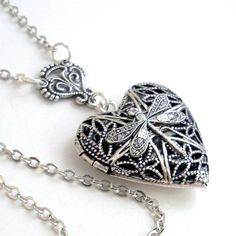 Silver Dragonfly Heart Scent Locket Filigree Jewelry Jewellery Necklace - by Gypsy Trading Company. $30.00, via Etsy.