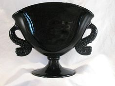 IMPERIAL DOLPHIN Black Amethyst Glass Fan Vase by InheritIt, $39.00