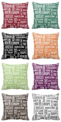 Do you like colors? You can choose from many colored pillows with typographic design - European cities. gift ideas | home decor