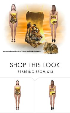 """""""Tiger and Sunset One Piece Swimsuit"""" by erikakaisersot ❤ liked on Polyvore featuring swimwear, tiger and erikakaisersot"""