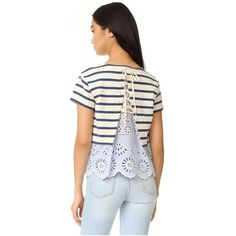 Sea Stripe and Eyelet Tee ($250) ❤ liked on Polyvore featuring tops, t-shirts, multi, lace up shirt, t shirt, tie shirt, cotton t shirts and striped t shirt