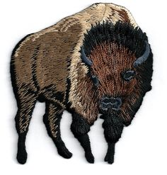 Buffalo - Bison - Brown - Embroidered Iron On Applique Patch - R #Unbranded