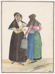 Twee vrouwen met kaper op, Noord-Holland. 1837. kunstenaar: Haasloop Werner, Heinrich Gottfried #NoordHolland