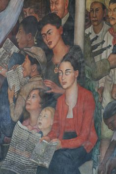 Frida Kahlo and her mother in the Diego Rivera Murals in Mexico City