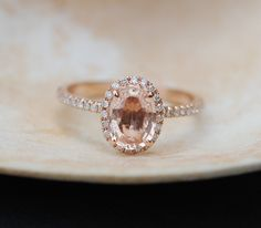 Oval Engagement ring Peach Sapphire Ring 14k Rose by EidelPrecious
