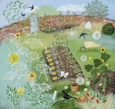 Illustration by Lucy Grossmith : summer vegetable garden Garden Illustration, Naive Art, Prints For Sale, Oeuvre D'art, Landscape Art, Pretty Pictures, Garden Art, Illustrators, Folk Art