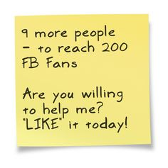 9 more people - to reach 200 FB Fans. Are you willing to help me? LIKE this FB page now! Thank you. http://www.facebook.com/TheBestWayToBurnFatFast