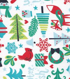 Snuggle Flannel Fabric Winter Woodland