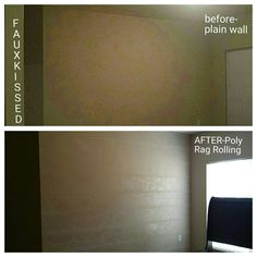Before - plain wall...After- Poly Rag Rolling soft and subtle accent wall finish by Fauxkissed