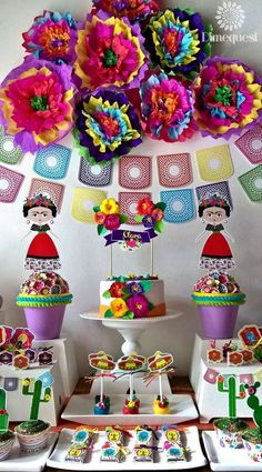 Paper Flower Backdrop. Fiesta / Mexican Birthday Party Ideas | Photo 1 of 27