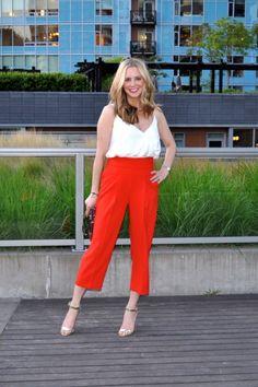 bb1149db6782e Orange pants + white bodysuit (via Confessions of a Product Junkie blog)