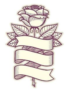 Traditional Rose Tattoos - tattoo designs ideas männer männer ideen old school quotes sketches Band Tattoos, Ribbon Tattoos, Flower Tattoos, Body Art Tattoos, Tattoos Skull, Sketch Tattoo Design, Sketch Design, Tattoo Sketches, Tattoo Drawings