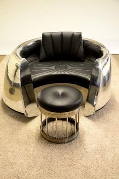 DC9 inlet cowling chair and JT8 engine spacer footstool by Aero Art Shop