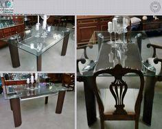Mesa contemporânea,1º mão (nova)....tampo em vidro temperado, estrutura em aço e sub-tampo e pernas forradas a couro sintético castanho...muito versátil, pode ser usada como mesa de jantar, secretária, mesa\ balcão de loja.... https://www.facebook.com/objecta.segunda.mao/photos/a.502677349868970.1073741830.501864669950238/677315352405168/?type=3&theater