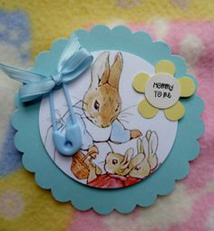 Peter Rabbit...Baby Shower Corsage with Diaper Pin and Ribbon...Mom to Be...Dad to Be Corsage...3D