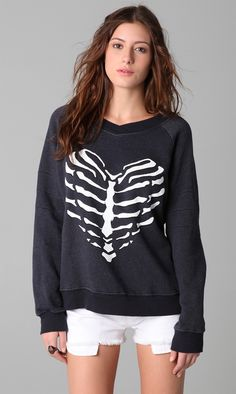 5d51cee167656 Wildfox - Black The Skeleton Heart Original Gidget Sweatshirt - Lyst