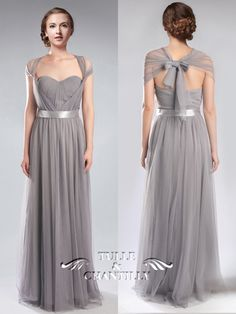 Tulle Convertible Medium Grey Multi Bridesmaid Dresses