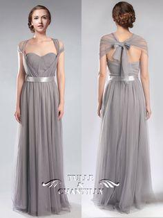 Tulle Convertible Medium Grey Multi Bridesmaid Dresses 7