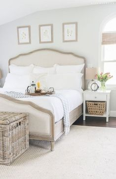 Master Bedroom Retreat Need this NOW. inspiration from this master bedroom retreat makeover, fresh spring flowers, and a decadent breakfast in bed. Coastal Master Bedroom, Coastal Bedrooms, Farmhouse Master Bedroom, Coastal Living Rooms, Master Bedroom Design, Bedroom Designs, Modern Bedroom, Trendy Bedroom, Beds Master Bedroom