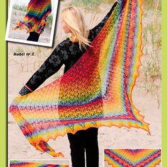 Gratis mönster till stor sjal med trekantsmönster.
