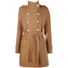 Boohoo Jade Military Wool Look Coat (4.940 RUB) ❤ liked on Polyvore featuring outerwear, coats, wool wrap coat, wool military coats, beige duster coat, mac coat and rain coat